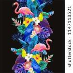 tropical seamless vertical... | Shutterstock .eps vector #1147113521