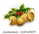 vector christmas holly berries... | Shutterstock .eps vector #1147125077