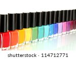 Group Of Bright Nail Polishes...