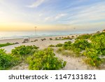 cancun beach at sunrise   playa ... | Shutterstock . vector #1147131821