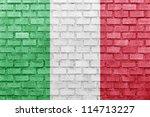 Italy Flag On A Brick Wall