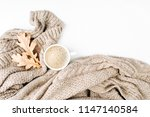 cup of coffee  with warm plaid. ... | Shutterstock . vector #1147140584