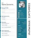 professional personal resume cv ... | Shutterstock .eps vector #1147143011