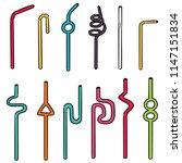 vector set of straw | Shutterstock .eps vector #1147151834