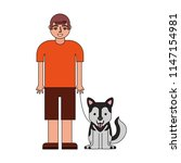 young boy with her siberian...   Shutterstock .eps vector #1147154981