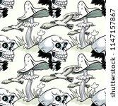magic mushroom  skull and... | Shutterstock . vector #1147157867