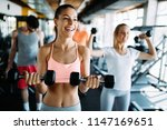 picture of cheerful fitness... | Shutterstock . vector #1147169651