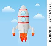 rocket flying in the sky.... | Shutterstock .eps vector #1147175714