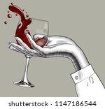 woman's hand holding a glass... | Shutterstock . vector #1147186544