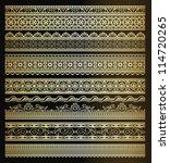 set of seamless golden lines | Shutterstock .eps vector #114720265
