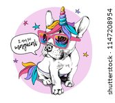 Stock vector puppy bulldog in a bright colored costume of a unicorn wig horn and tail vector illustration i 1147208954