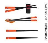 hopsticks for sushi set in... | Shutterstock .eps vector #1147211591