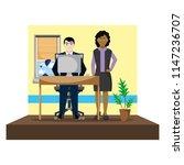 elegant secretary man and... | Shutterstock .eps vector #1147236707
