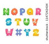 cartoon stylized letters.... | Shutterstock .eps vector #1147242434