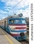 train on the platform. close up.... | Shutterstock . vector #1147242554