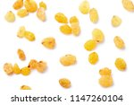 yellow raisins on top view | Shutterstock . vector #1147260104
