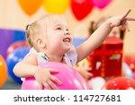joyful kid girl on birthday... | Shutterstock . vector #114727681