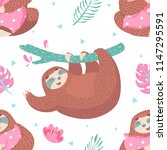 cute seamless pattern with... | Shutterstock .eps vector #1147295591