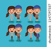 group of couples kawaii... | Shutterstock .eps vector #1147297337