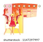 zodiac sports lady. twins.... | Shutterstock . vector #1147297997