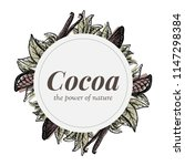 wreath with cocoa and vanilla... | Shutterstock .eps vector #1147298384
