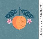 peach illustration. ripe... | Shutterstock .eps vector #1147307711