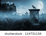 Crow Sitting On A Gravestone In ...