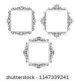 vintage vector swirl frame set | Shutterstock .eps vector #1147339241
