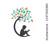 man reading book under tree...   Shutterstock .eps vector #1147343384