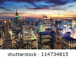 Stock photo new york city skyline with urban skyscrapers at sunset 114734815