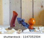 joiner's plane on a wooden... | Shutterstock . vector #1147352504