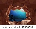 a moonlight cave landscape...   Shutterstock .eps vector #1147388831