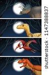 a set of dinosaur and moonlight ...   Shutterstock .eps vector #1147388837