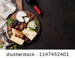 wine  cheese  grape  bread and... | Shutterstock . vector #1147452401