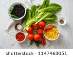 top view set raw food for... | Shutterstock . vector #1147463051
