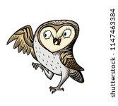 The Little Barn Owl. Hand Draw...