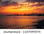 beautiful landscape with fiery...   Shutterstock . vector #1147495574