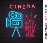 cinema camera and pop corn neon ... | Shutterstock .eps vector #1147495784