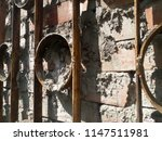 ancient wall of stone. metal... | Shutterstock . vector #1147511981