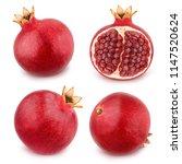 Set of pomegranates isolated on ...