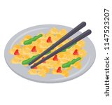 scrambled egg in plate with... | Shutterstock .eps vector #1147523207