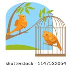 sad canary in a cage and a... | Shutterstock .eps vector #1147532054
