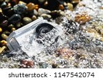 white action camera with... | Shutterstock . vector #1147542074