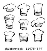set of chef hats  white chef hat | Shutterstock .eps vector #114754579