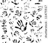 Seamless pattern of human hand prints - stock vector