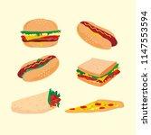 fast food   burger  hot dog ... | Shutterstock .eps vector #1147553594