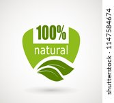 100 natural stamp illustration. ... | Shutterstock .eps vector #1147584674