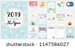 Cute Calendar For 2019. Vector...