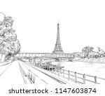 view of the bridge le pont de... | Shutterstock .eps vector #1147603874
