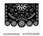 vector papel picado banner with ... | Shutterstock .eps vector #1147611434